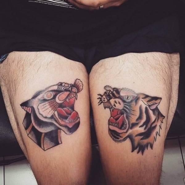 tiger tattoos on thighs