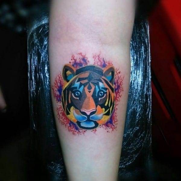colorful tiger tattoo on arm