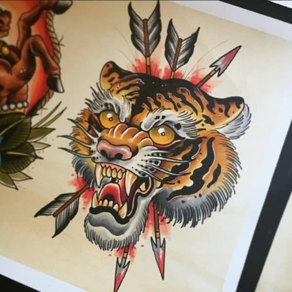 tiger and arrows art work