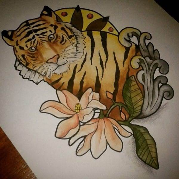 tiger and flowers design