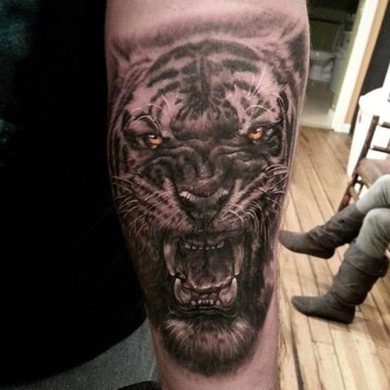angry black tiger design