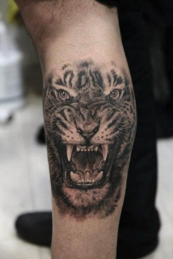 realistic tiger growling tattoo