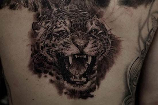growling tiger on chest