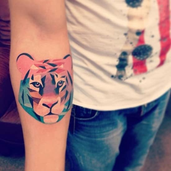 watercolor and geometric tiger tattoo
