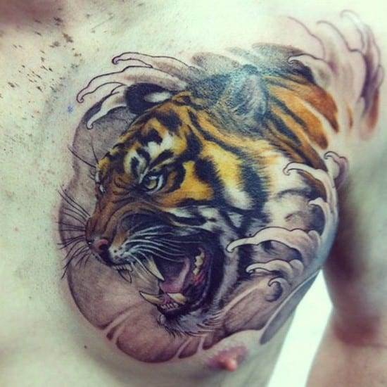 tiger with waves chest tattoo