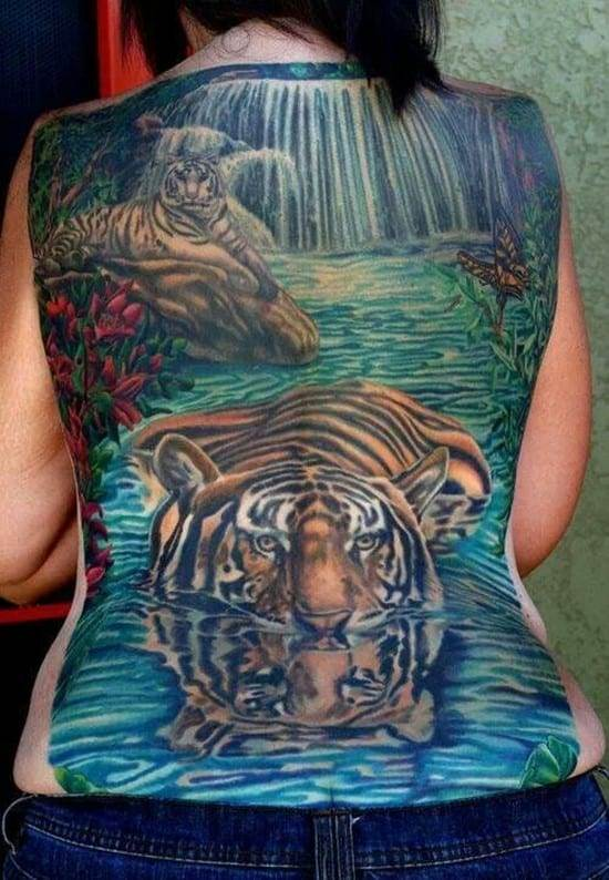 tiger in water back tattoo