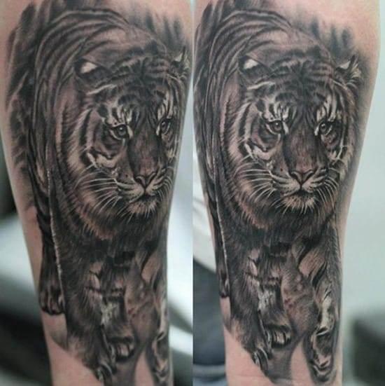 realistic tiger on leg