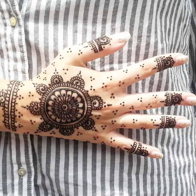 henna tattoo on hand shown