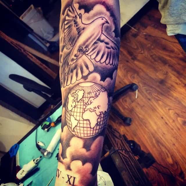dove and globe tattoo