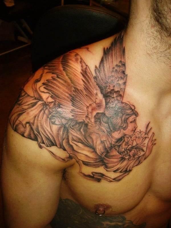 flying angel on shoulder