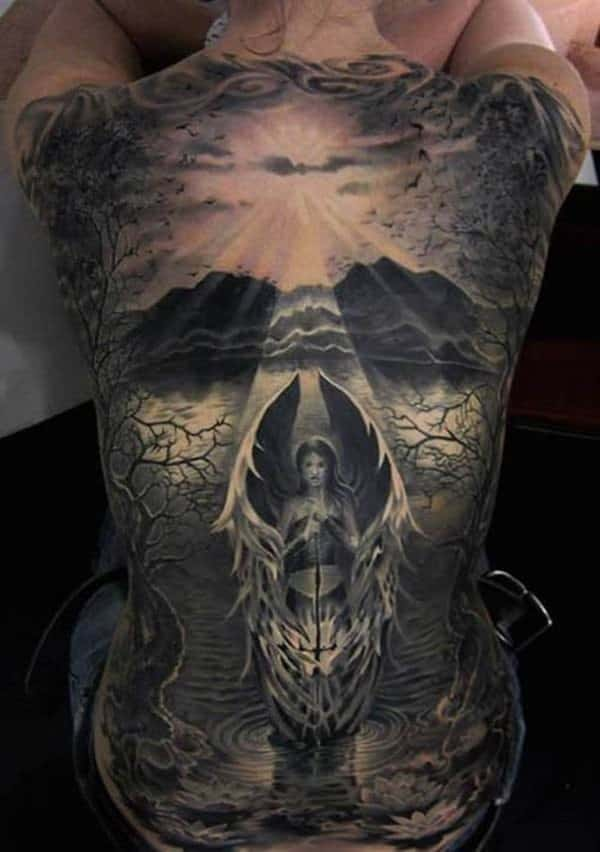 Angel Full Back Tattoo