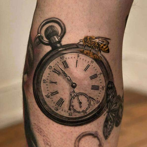 Open-Face Pocket Watch Tattoo by Niki Norberg