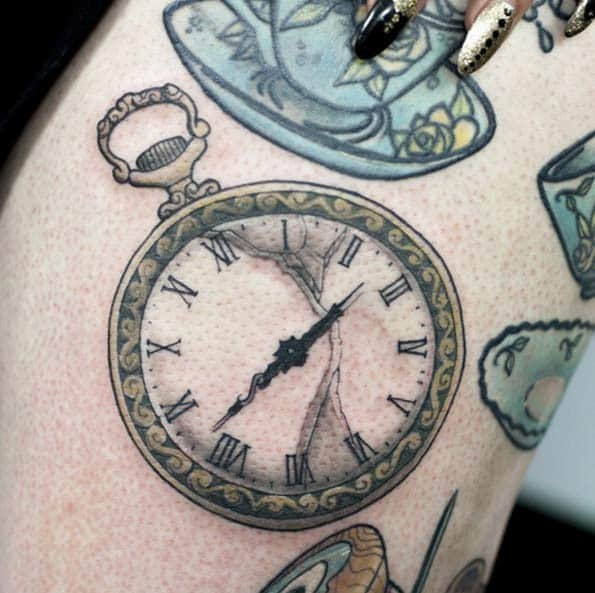 Open-Face Pocket Watch Tattoo by Nick Hart
