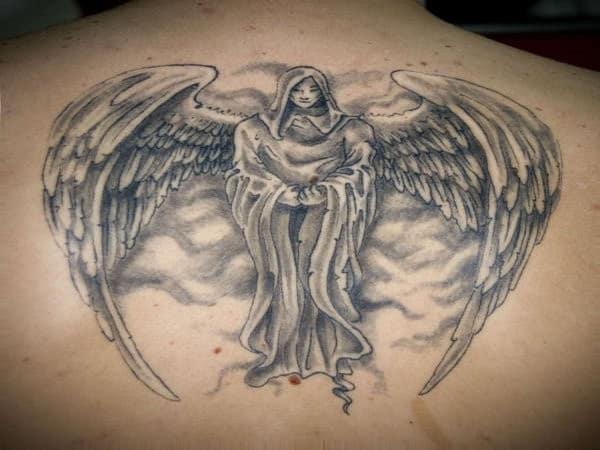 Hooded Angel Back Tattoo