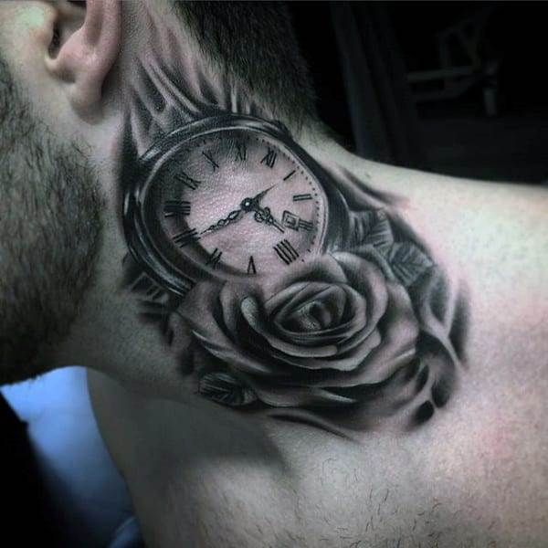 Lovely Rose And Pocket Watch Tattoo On Neck For Males