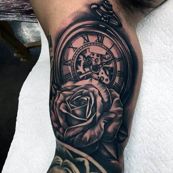 Male With 3D Rose And Pocket Watch Tattoo On Upper Arms