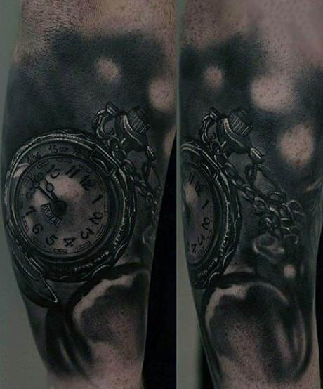 Man With Classic Pocket Watch Tattoo And Chain On Elbows