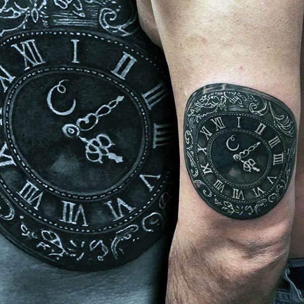 Mens Charcoal Black Pocket Watch Tattoo On Arms