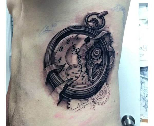 Mens Collectors Piece Pocket Watch Tattoo On Torso