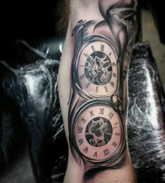 Mens Pair Of Deluxe Pocket Watch Tattoo On Forearms
