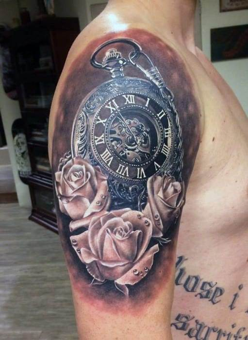 Mens Shoulder Pocket Watch And Rose Blossoms Tattoo