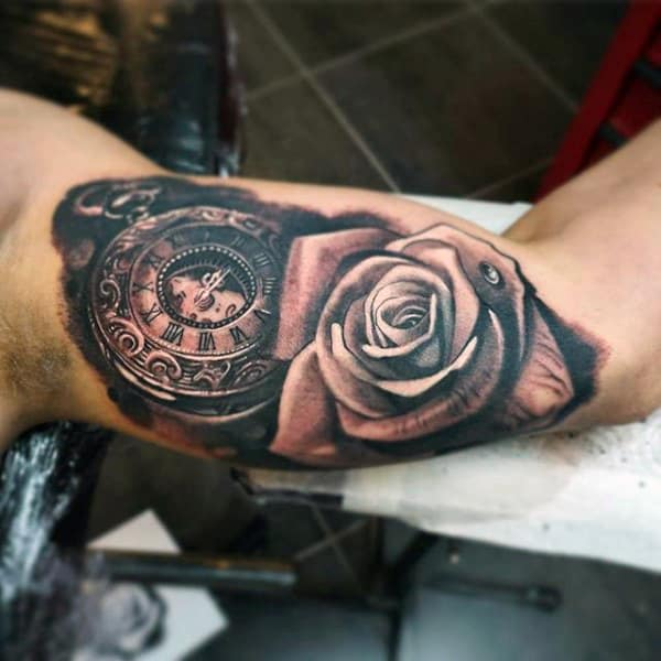 Guys Forearms Pocket Watch And Rose Tattoo