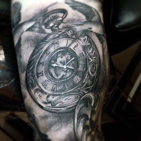 Old Style Pocket Watch Tattoo Arms Men
