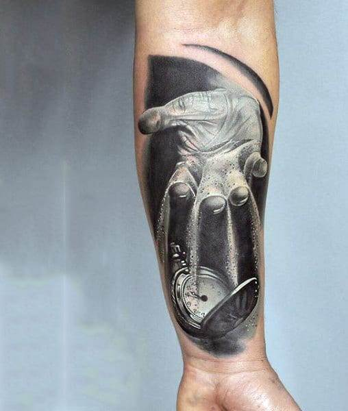 Pouring Sand Over Pocket Watch Tattoo Forearms Male