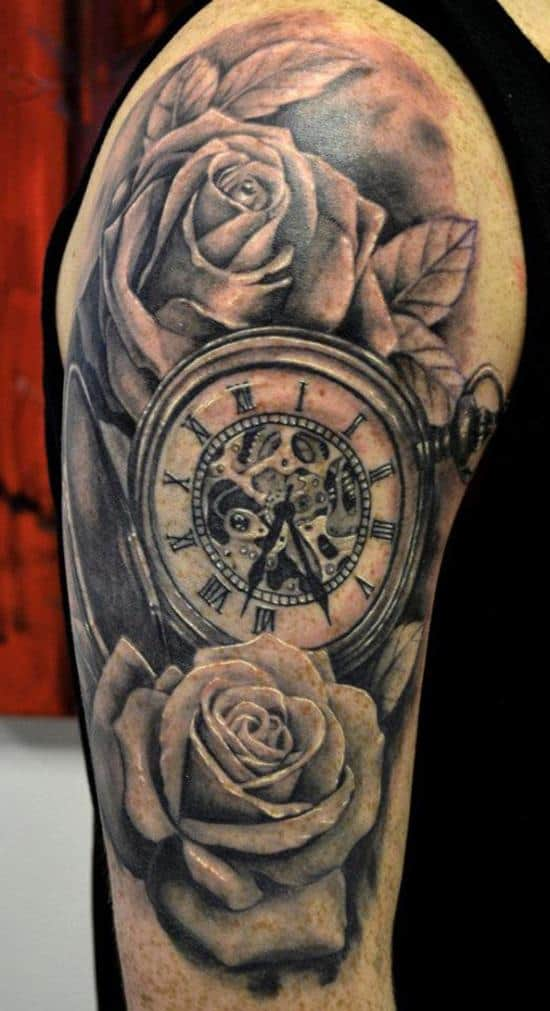 black roses and clock tattoo