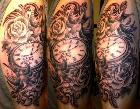 Swallows and pocket watch tattoo