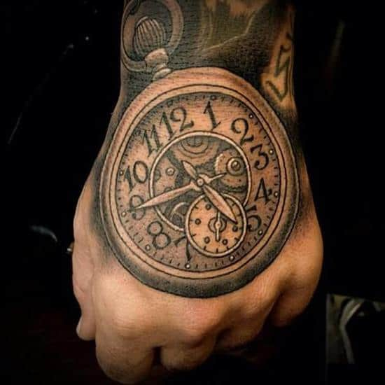 clock tattoo on back of hand