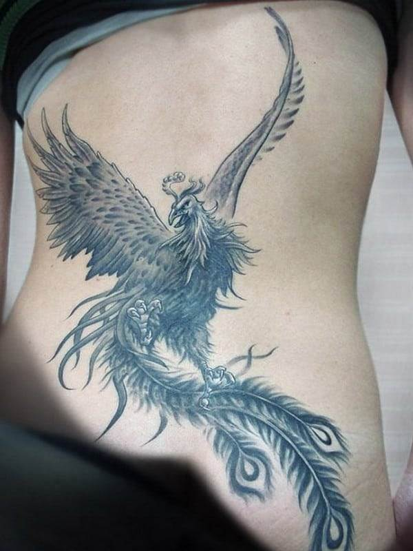 phoenix tattoo on side and stomach