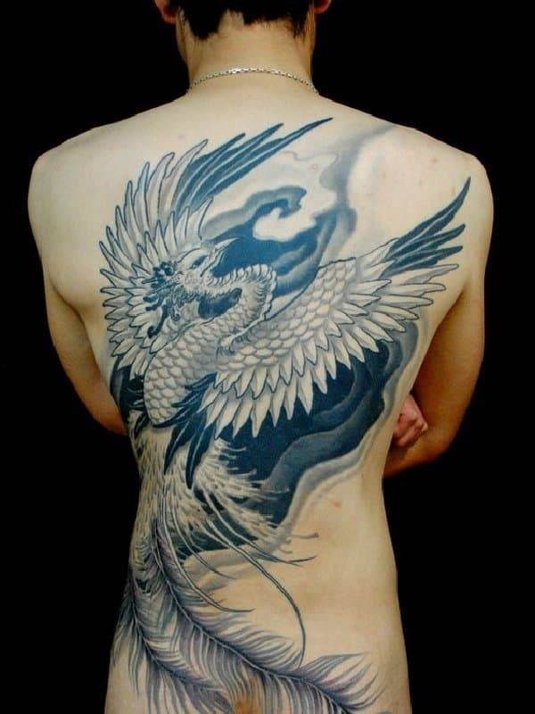black phoenix on back