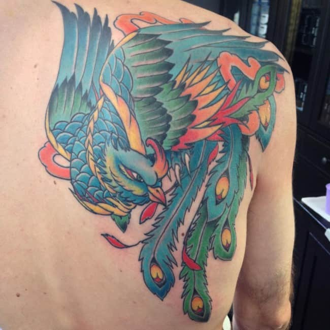 phoenix on shoulder and back