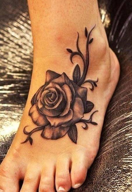Women-tattoos-Rose-tattoo-on-foot