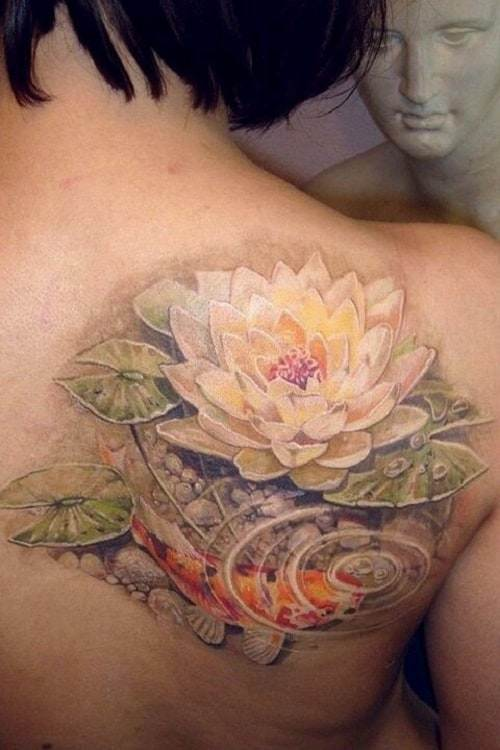 Amazing Koi Tattoo with Water Lily