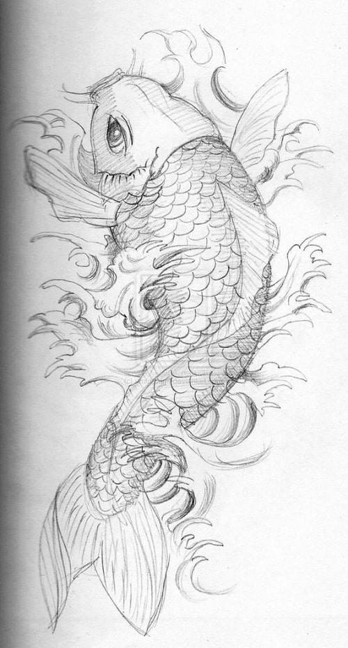 Koi Fish Tattoo Draft