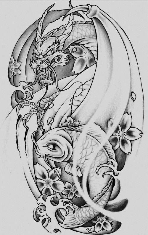 Dragon, Koi Fish and Cherry Blossom Tattoo