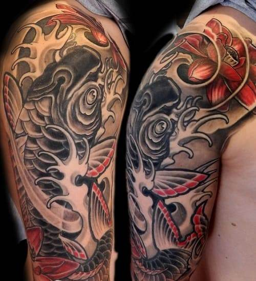 Japanese Waves Koi Tattoo with Flowers