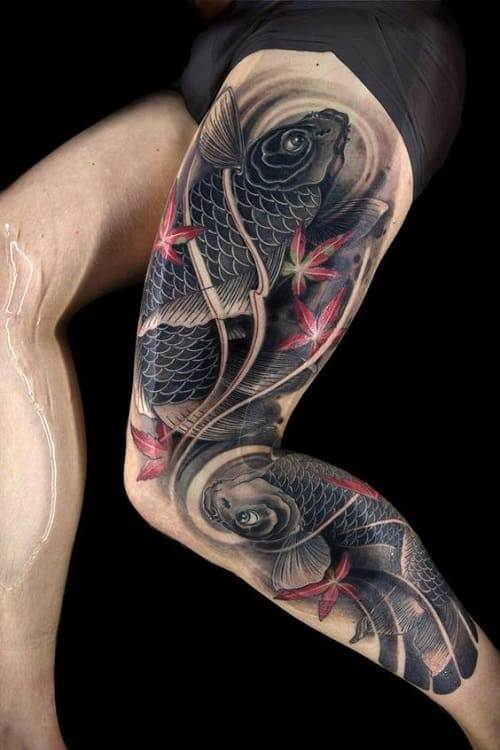 Best Koi Tattoo with Marijuana Leaves