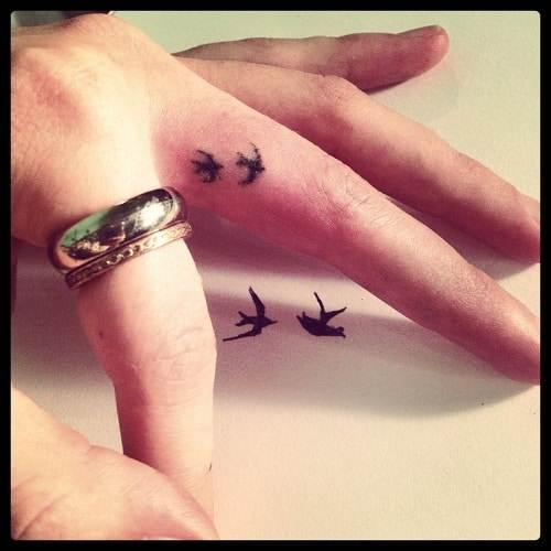 Two Small Birds Finger Tattoo