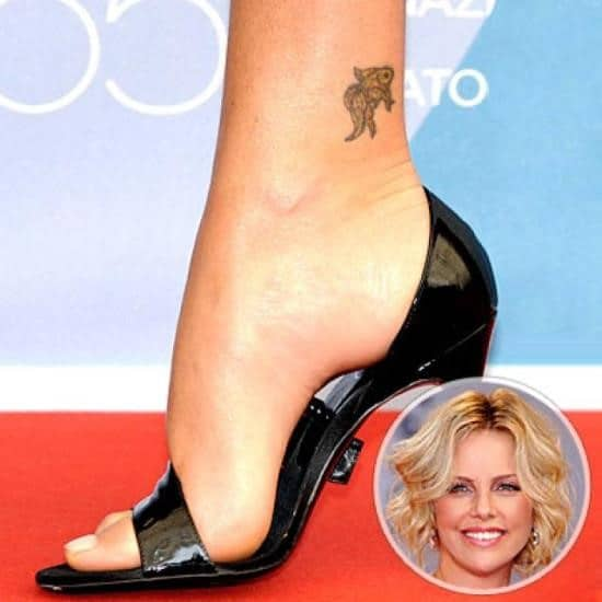 Charlize-Therons-Small-Koi-Fish-Ankle-Tattoo