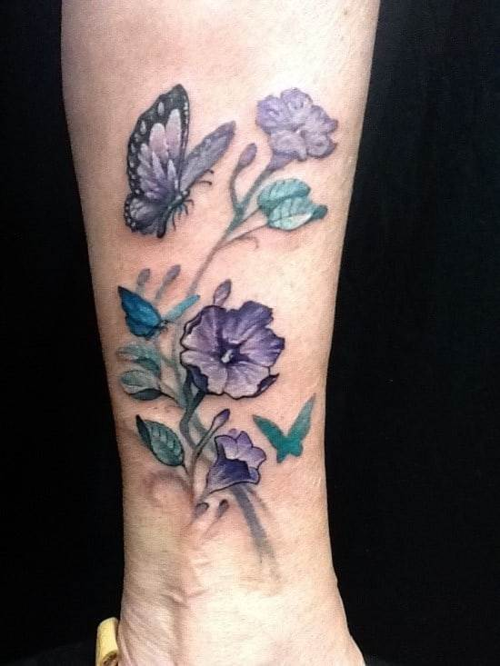 Colorful-3D-Floral-Butterfly-Ankle-Tattoo