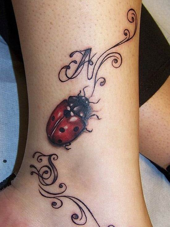 Cool-3D-Beetle-Ankle-Tattoo-with-Initials-for-Women