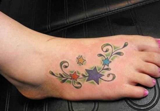 Colorful-Star-Ankle-Tattoo
