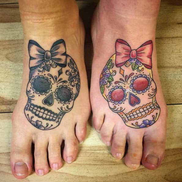 Sugar Skull Sister Tattoos by Rachelle Downs