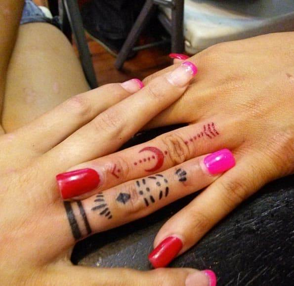 Matching Finger Tattoos for Sisters by Alejandro Gallardo