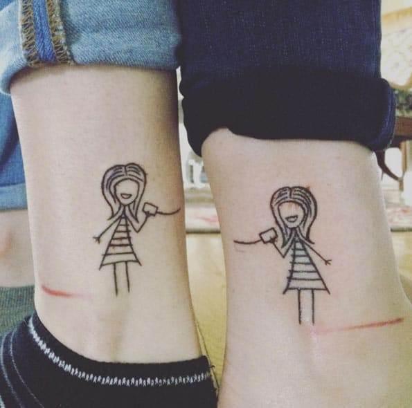 Sister Tattoos on Ankle
