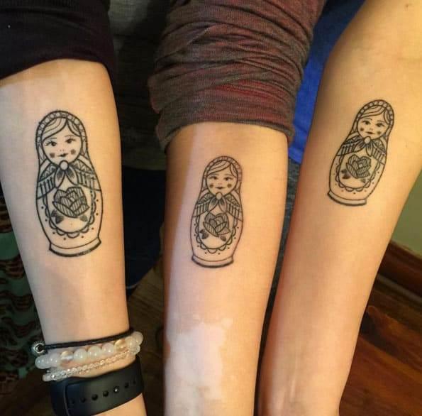 Russian Nesting Doll Sister Tattoos!