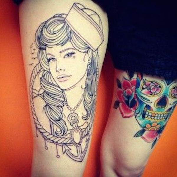 Thigh Tattoos for Women.27